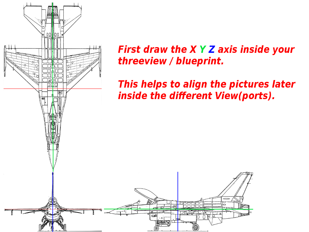 Blender positioning fsdeveloper 1 draw the xyz axis on your three view aircraft blueprint before importing into blender malvernweather Images