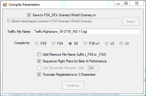FSX - Not able to choose target FS version - AIFP - FSX-SE