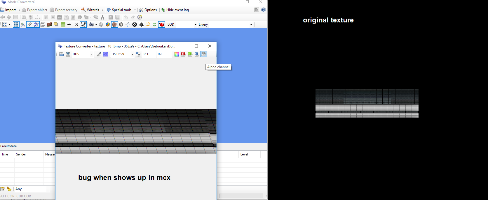 crooked textures in model converter x last development release